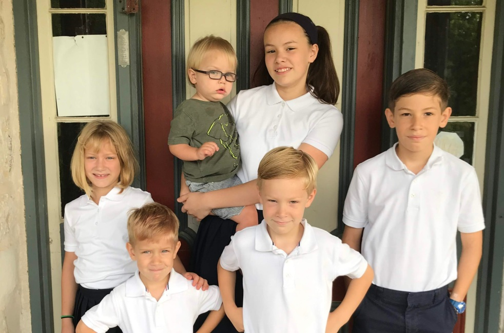 Kids ready for their first day of school.