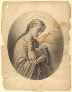 Grayscale drawing of Saint Agnes, holding a lamb. Paper is torn around the edges and stained.